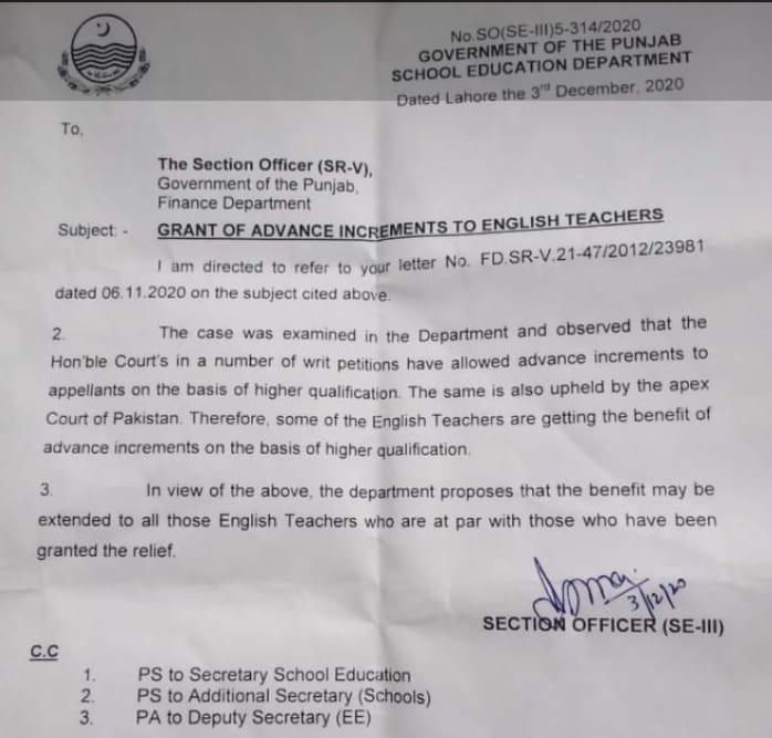 Advance Increments for English Teacher Punjab Finance