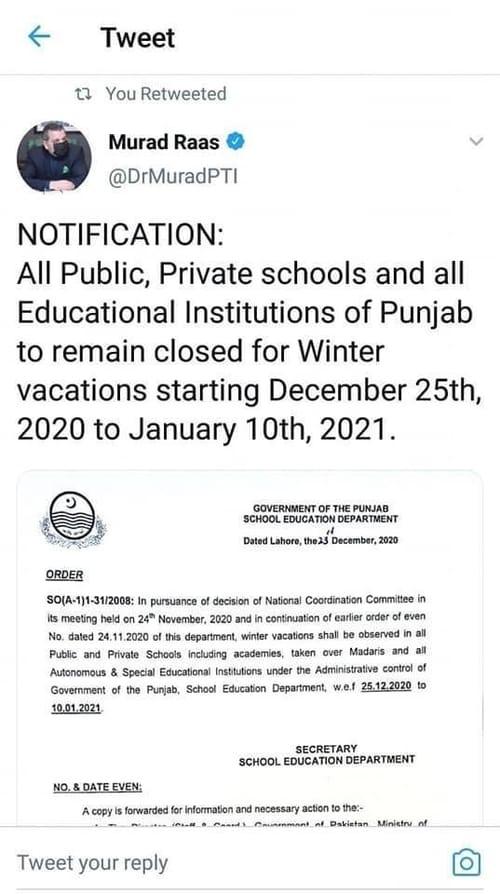 Winter Holidays 2020 Pakistan