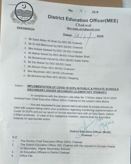 District Educational Officer Chakwal