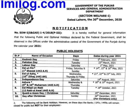 Punjab Public Holidays 2021