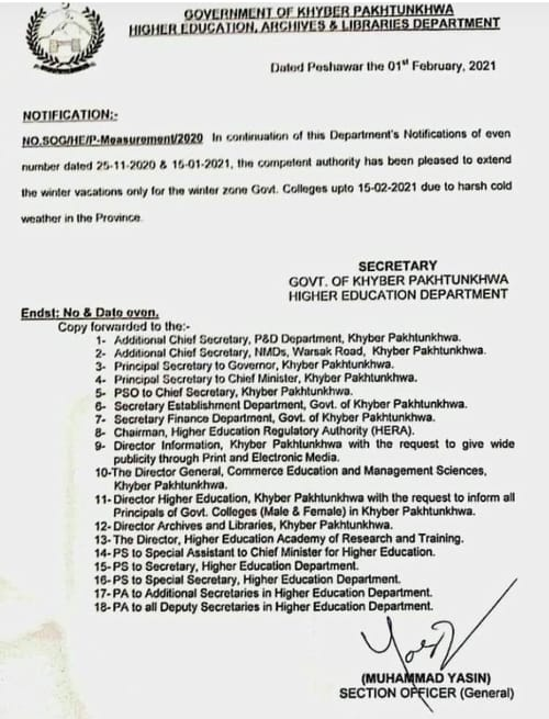 Notification Higher Education Institution