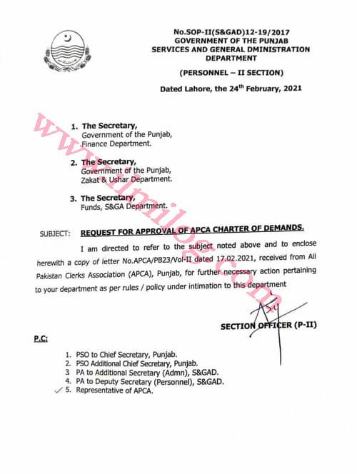 Secretary Finance Department letter